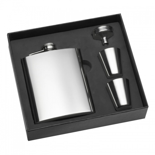200ml Stainless Steel Hip Flask & Cups Gift Set