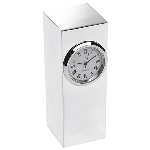 Engraved Silver Plated Tower Desk Clock