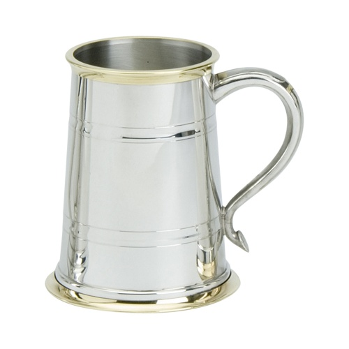 Engraved Brass and Pewter Pint Tankard