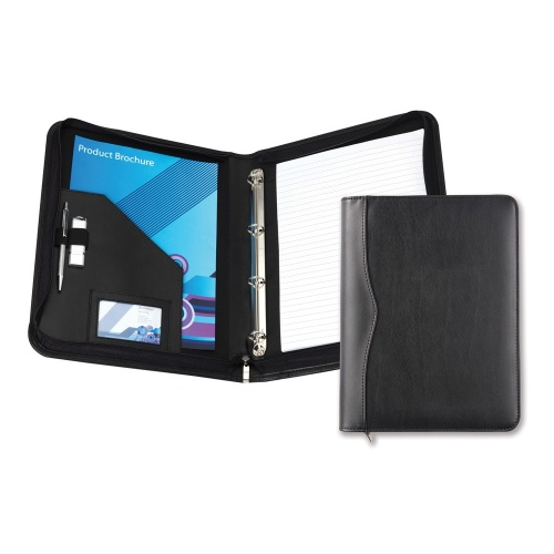 Black Houghton PU Leather A4 Zipped Ring Binder