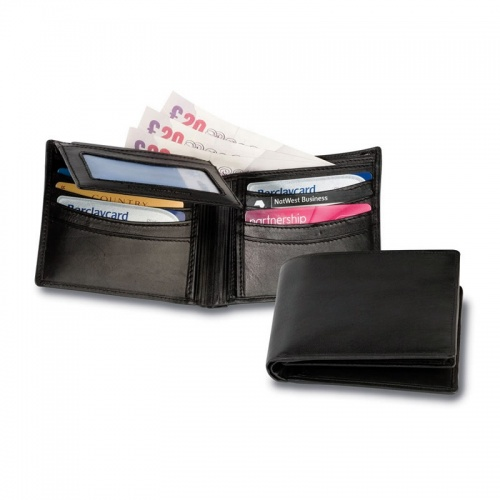 Engraved Nappa Leather Wallet with Silver Clip