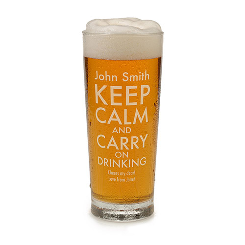 Personalised Keep Calm and Carry on Drinking Beer Glass