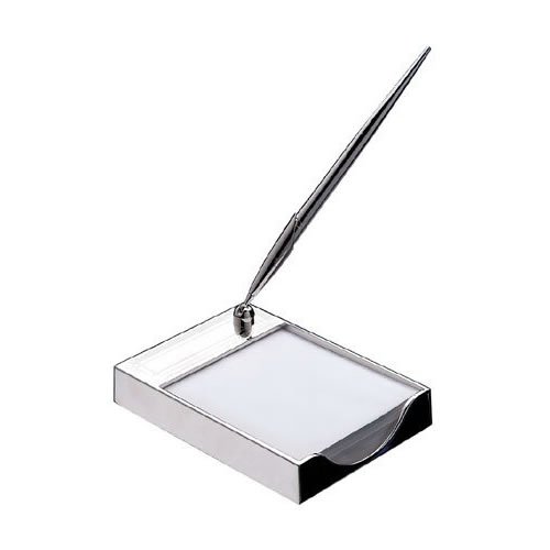 Engraved Silver Plated Memo Pad Holder with Pen