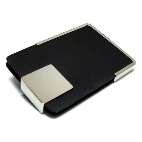 Engraved Leather & Silver Business Cards Holder Business