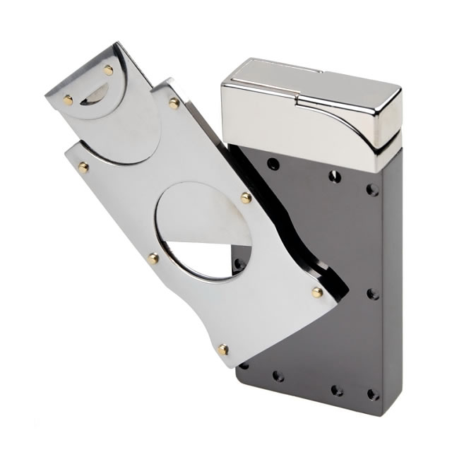 Engraved Chrome Plated Lighter with Cigar Cutter ...