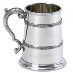 Engraved Celtic Design Pewter Pint Tankard