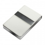 Personalised White Leather Business Cards Case