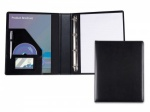 A4 Ring Binder Folder in Black Belluno Leather