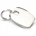 Engraved Silver Plated Rounded Square Keyrings