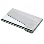 Engraved Silver Business Card Case with Ribbed Curved Lid