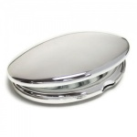 Engraved Silver Plated Oval Purse Mirror