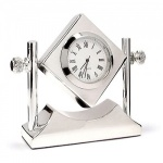 Engraved Silver Plated Tilting Desk Clock