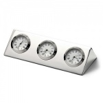 Engraved Silver Plated Triple Time Clock