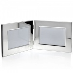 Engraved Silver Plated Double Photo Frames 7x5in