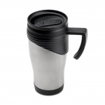 Stainless Steel Travel Mug with Black Handle & Lid