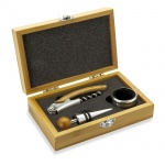 3 Piece Wine Accessories Gift Set in Bamboo Wood Box