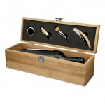 4pc Wine Accessories Gift Set in Bamboo Wood Box