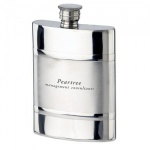 Engraved Satin Band 4oz Pewter Flask
