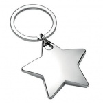 Engraved Chrome Plated Star Shape Keyring