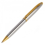 Engraved Chrome and Gold Ballpoint Pen with Case