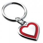Engraved Silver Plated Red Heart Keyring