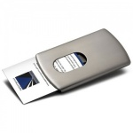 Engraved Brushed Metal Sliding Business Cards Case