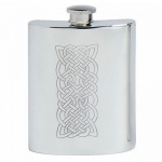 Engraved 6oz Pewter Hip Flask with Celtic Design