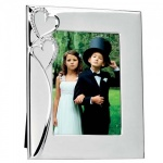 Engraved Silver Plated Photo Frame with Two Hearts