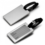 Engraved Silver Luggage Tag with Leather Strap