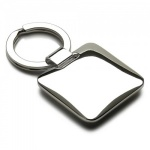 Engraved Silver Plated Cushion Keyring