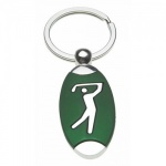 Engraved Silver Plated Golfer Keyring