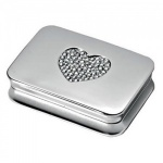 Engraved Silver Plated Pill Box with Diamante Heart Lid
