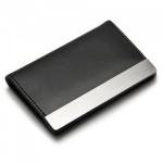 Engraved Leather & Steel Credit Cards Wallet