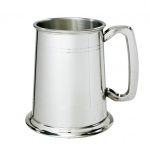 Engraved 1PT Two Line English Pewter Tankard