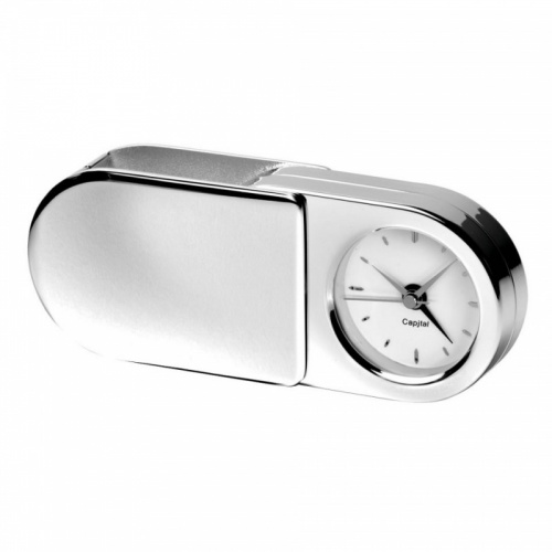 Engraved Silver Plated Folding Travel Clock