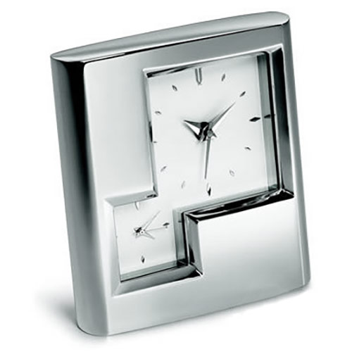 Engraved Silver Plated Dual Time Alarm Clock