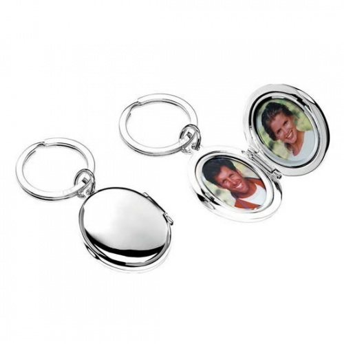 Silver Plated Keyring with Oval Picture Frames