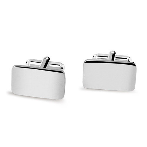 Pair Engraved Heavily Silver Plated Cuff Links (Square)