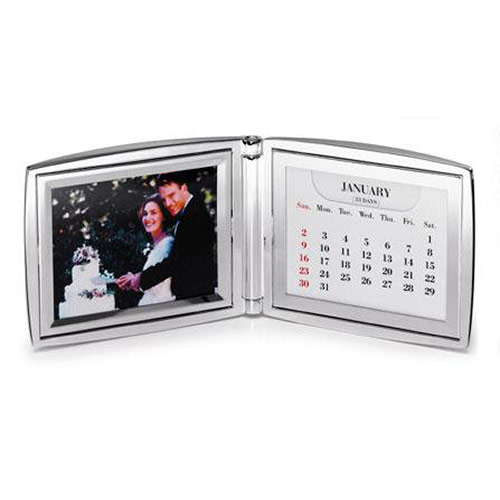 Engraved Silver Folding Photo Frame with Calendar