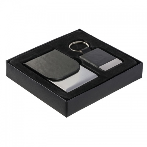 Gift Set with Black PU Leather Business Cards Case & Keyring