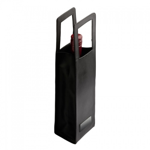 Personalised Black PU Leather Wine Bottle Bag