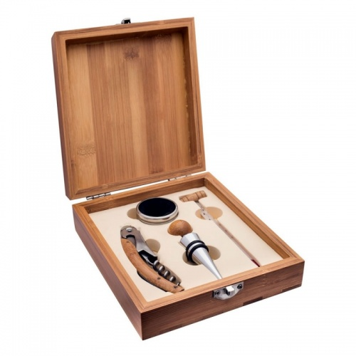 4 Piece Wine Accessories Gift Set in Bamboo Wood Box