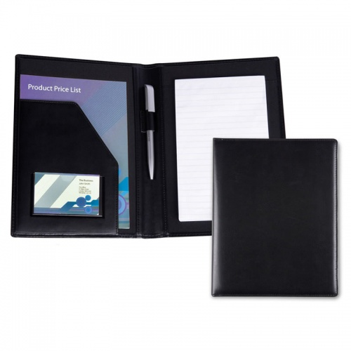 A5 Conference Folder in Black Belluno Leather
