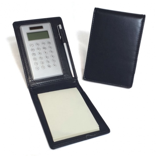 Personalised Leather Notepad with Calculator & Pen