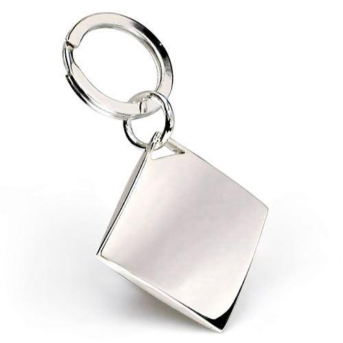 Engraved Silver Plated Diamond Shape Keyring