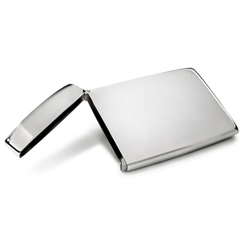 Engraved Steel Flip-Top Business Card Holders
