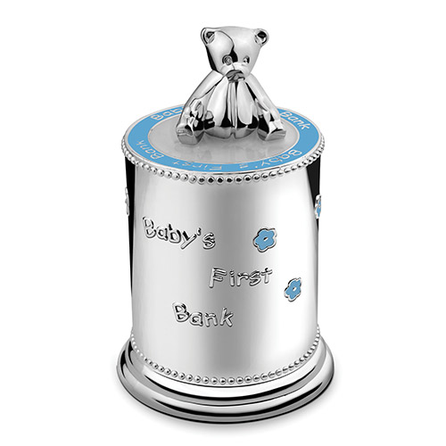 Engraved Silver Plated Baby's Money Bank (Blue)
