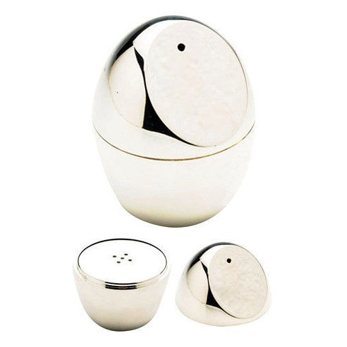 Engraved Silver Egg Shaped Salt and Pepper Shakers