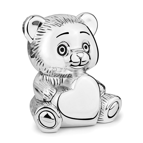 Engraved Silver Plated Teddy Bear Bank