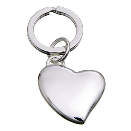 Engraved Silver Plated Heart Shaped Keyrings